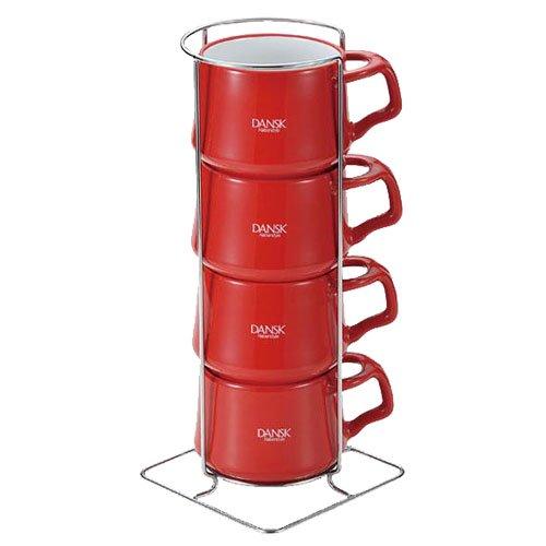 DANSKコベンスタイルストーンウェア コーヒーカップ4pcs チリレッド