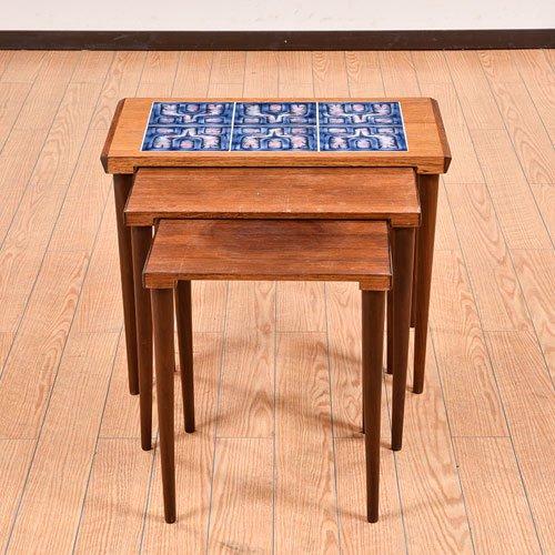 北欧デンマークビンテージ家具/UD7027/タイル付きネストテーブル