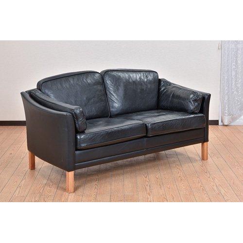 北欧デンマークビンテージ家具/UD7098/二人掛け革ソファ