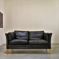 2seater leather sofa(BK)/UD8271