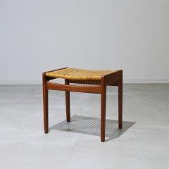 ラタン&チークスツール/北欧ビンテージ家具/UD9204