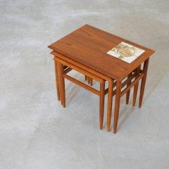 ネストテーブル(タイル付/チーク)|UD10397
