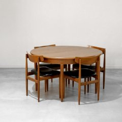 ラウンド伸長式ダイニングテーブル(チーク・幅122cm)|DT2335