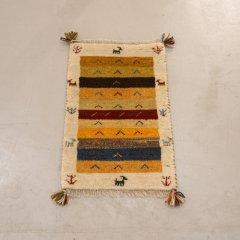 手織り絨毯63x41cm(ウール100%)|ギャッベ20-7766