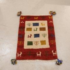 手織り絨毯66x49cm(ウール100%)|ギャッベ-12-6566