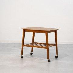 キャスター付きサイドテーブル(チーク&ブナ)|UD11078