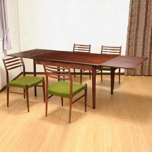 北欧デンマークのビンテージ家具/UD3043/ダイニング5点セット(RW) エクステンションテーブル