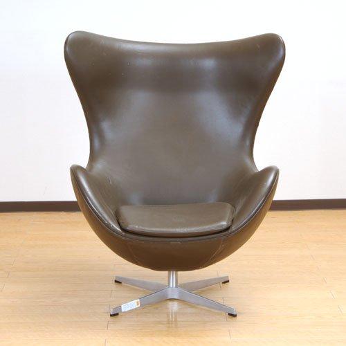 北欧デンマークのビンテージ家具/UD3100/ヤコブセン エッグチェアー(革BR)