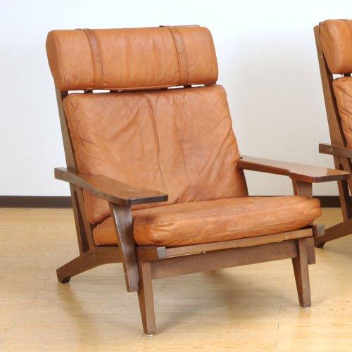 北欧デンマークのビンテージ家具/UD3097/ウェグナー イージーチェア(革)(OK)GE375