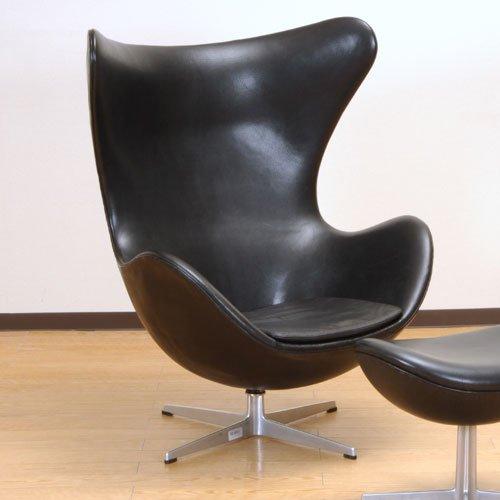 北欧デンマークのビンテージ家具/UD3083/ヤコブセン エッグチェアー(BKレザー)