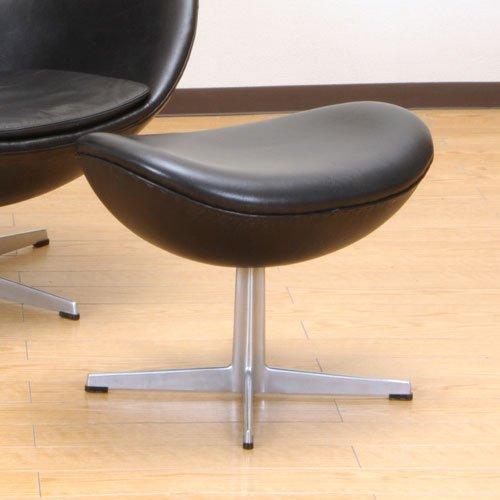 北欧デンマークのビンテージ家具/UD3084/ヤコブセン エッグチェアー(BKレザー)スツール