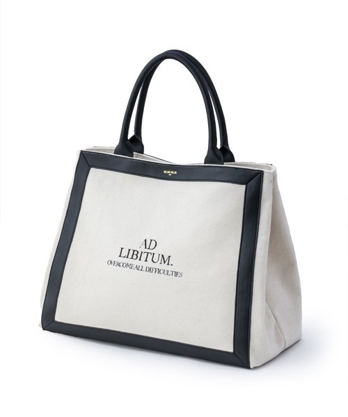 NIL DUE / NIL UN TOKYO / ニル デュエ / ニル アン トーキョー |  LEATHER MASKING CANVAS TOTE LARGE / WH 商品画像
