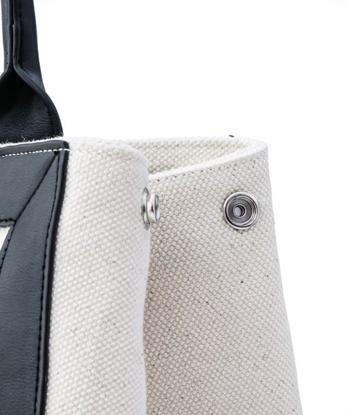 NIL DUE / NIL UN TOKYO / ニル デュエ / ニル アン トーキョー | LEATHER MASKING CANVAS TOTE LARGE / WH 商品画像2