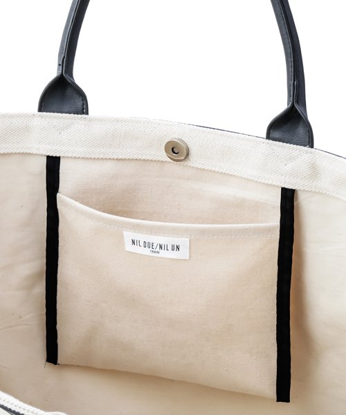 NIL DUE / NIL UN TOKYO / ニル デュエ / ニル アン トーキョー | LEATHER MASKING CANVAS TOTE LARGE / WH 商品画像4