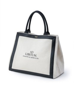 NIL DUE / NIL UN TOKYO:ニル デュエ / ニル アン トーキョー<br>【 LEATHER MASKING CANVAS TOTE LARGE / WH 】