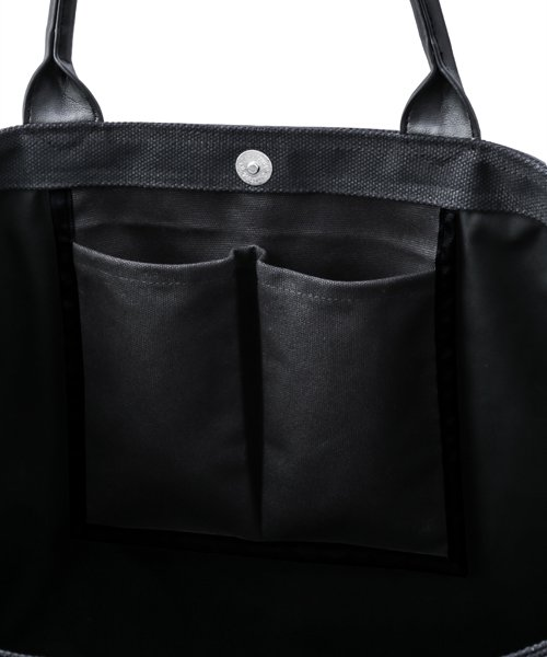 NIL DUE / NIL UN TOKYO / ニル デュエ / ニル アン トーキョー | LEATHER MASKING CANVAS TOTE LARGE / BK 商品画像3