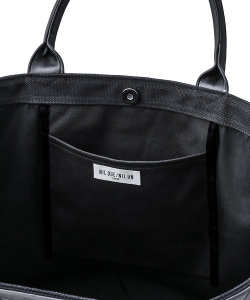 NIL DUE / NIL UN TOKYO / ニル デュエ / ニル アン トーキョー | LEATHER MASKING CANVAS TOTE LARGE / BK 商品画像4