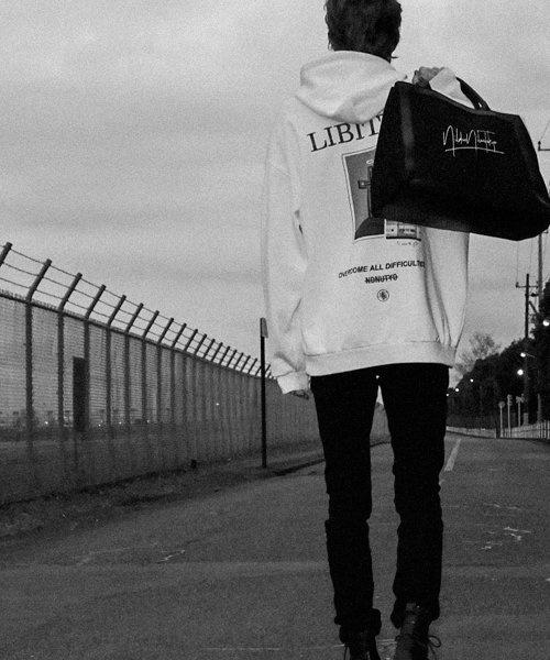 NIL DUE / NIL UN TOKYO / ニル デュエ / ニル アン トーキョー | LEATHER MASKING CANVAS TOTE LARGE / BK 商品画像5