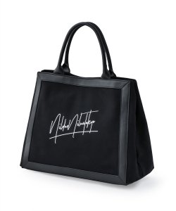 NIL DUE / NIL UN TOKYO / ニル デュエ / ニル アン トーキョー /  LEATHER MASKING CANVAS TOTE LARGE / BK
