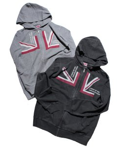 "RALEIGH:REDMOTEL(2色展開)<br>【 RALEIGH BEGINNERS ""QUARTER UNION JACK 001"" ZIP-UP HOODIE 】"