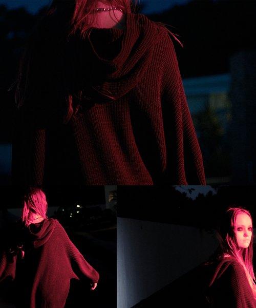 NIL DUE / NIL UN TOKYO / ニル デュエ / ニル アン トーキョー  SIDE SPLIT LONG KNIT HOODIE (BLK) 商品画像3