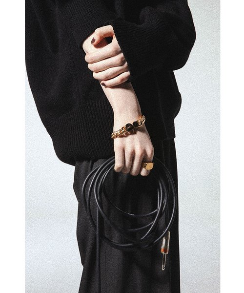 NIL DUE / NIL UN TOKYO / ニル デュエ / ニル アン トーキョー | CARVED SEAL CHAIN BRACELET (GOLD) 商品画像3