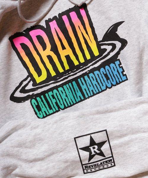 Official Artist Goods / バンドTなど  DRAIN / ドレイン:CALIFORNIA HARDCORE HOODED SWEATSHIRT (ASH GRAY) 商品画像3