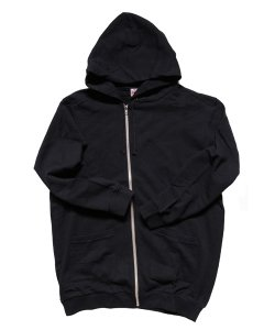 """RALEIGH / ラリー(RED MOTEL / レッドモーテル) /  """"TO CUT A LONG STORY SHORT"""" ASYMMETRIC ZIP HOODIE (BK)"""