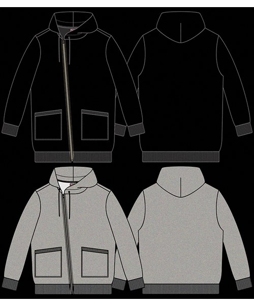 """RALEIGH / ラリー(RED MOTEL / レッドモーテル)   """"TO CUT A LONG STORY SHORT"""" ASYMMETRIC ZIP HOODIE (GY) 商品画像11"""