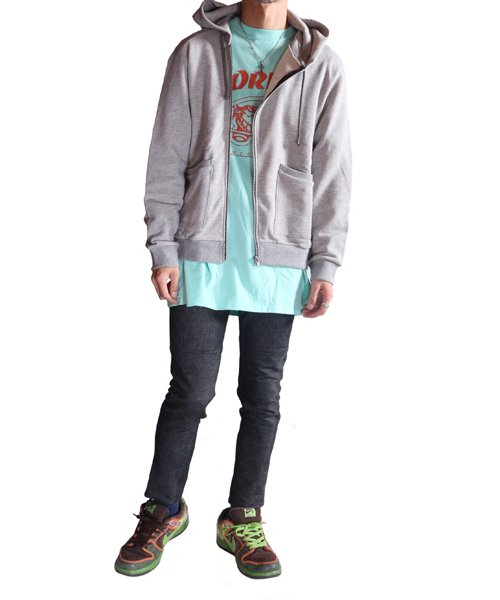 """RALEIGH / ラリー(RED MOTEL / レッドモーテル)   """"TO CUT A LONG STORY SHORT"""" ASYMMETRIC ZIP HOODIE (GY) 商品画像12"""