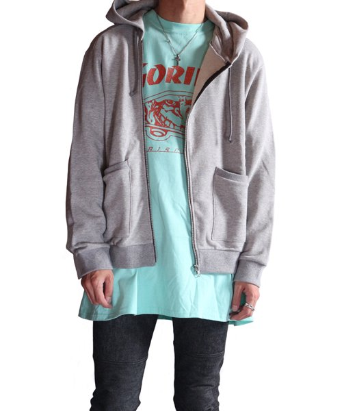 """RALEIGH / ラリー(RED MOTEL / レッドモーテル)   """"TO CUT A LONG STORY SHORT"""" ASYMMETRIC ZIP HOODIE (GY) 商品画像14"""