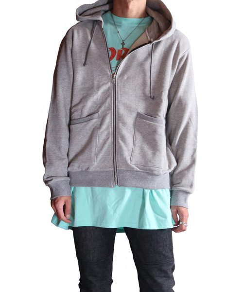 """RALEIGH / ラリー(RED MOTEL / レッドモーテル)   """"TO CUT A LONG STORY SHORT"""" ASYMMETRIC ZIP HOODIE (GY) 商品画像15"""