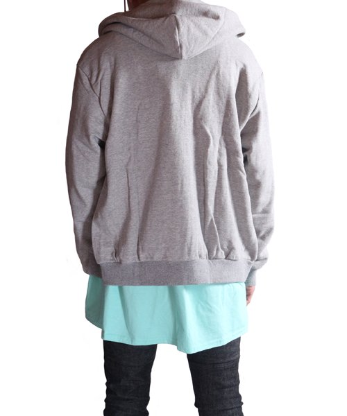 """RALEIGH / ラリー(RED MOTEL / レッドモーテル)   """"TO CUT A LONG STORY SHORT"""" ASYMMETRIC ZIP HOODIE (GY) 商品画像16"""