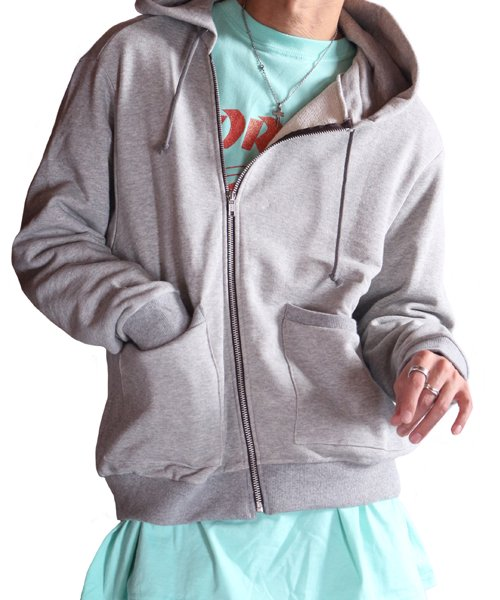 """RALEIGH / ラリー(RED MOTEL / レッドモーテル)   """"TO CUT A LONG STORY SHORT"""" ASYMMETRIC ZIP HOODIE (GY) 商品画像18"""
