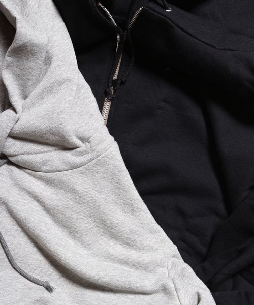 """RALEIGH / ラリー(RED MOTEL / レッドモーテル)   """"TO CUT A LONG STORY SHORT"""" ASYMMETRIC ZIP HOODIE (GY) 商品画像3"""