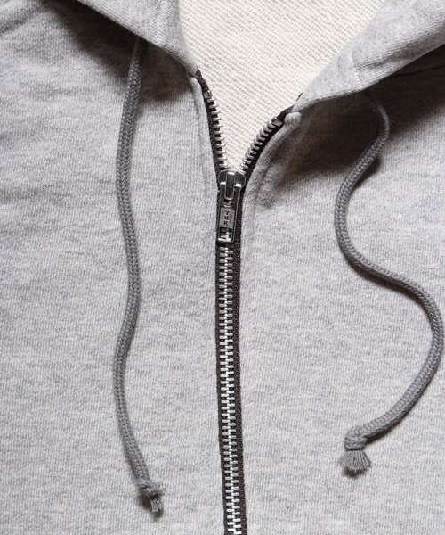 """RALEIGH / ラリー(RED MOTEL / レッドモーテル)   """"TO CUT A LONG STORY SHORT"""" ASYMMETRIC ZIP HOODIE (GY) 商品画像6"""