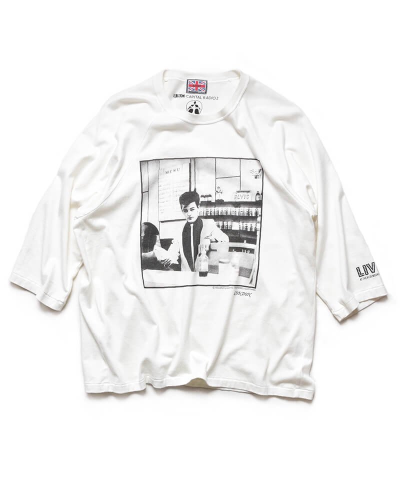 RALEIGH / ラリー(RED MOTEL / レッドモーテル)    RBC WORLD NEWS 3/4 SLEEVE T-SHIRTS (Loose Fit / WH) 商品画像