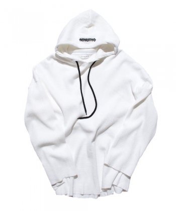 NIL DUE / NIL UN TOKYO / ニル デュエ / ニル アン トーキョー /  PULLOVER WAFFLE HOODIE (WHITE)