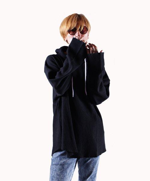 NIL DUE / NIL UN TOKYO / ニル デュエ / ニル アン トーキョー | PULLOVER WAFFLE HOODIE (BLACK) 商品画像12