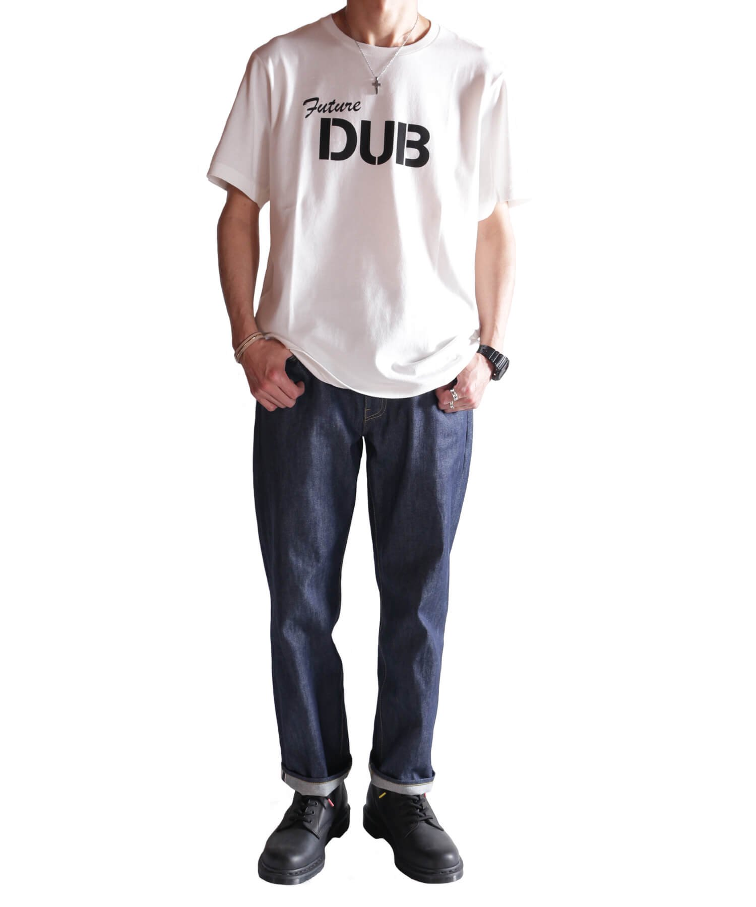 """RALEIGH / ラリー(RED MOTEL / レッドモーテル)   RALEIGH SOUND SYSTEM """"DUB OUR FUTURE"""" D.I.Y. T-SHIRTS (WH) 商品画像9"""