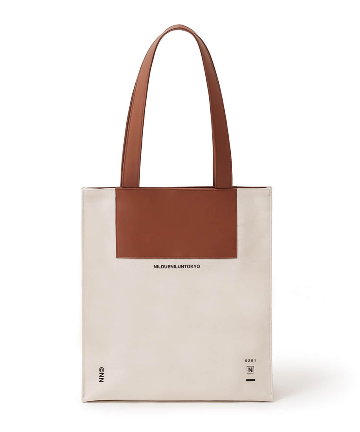 NIL DUE / NIL UN TOKYO / ニル デュエ / ニル アン トーキョー | CANVAS LEATHER TOTE (BROWN) 商品画像1