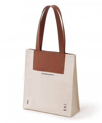 NIL DUE / NIL UN TOKYO / ニル デュエ / ニル アン トーキョー /  CANVAS LEATHER TOTE (BROWN)