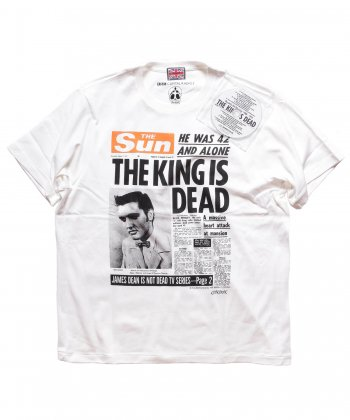 """RALEIGH / ラリー(RED MOTEL / レッドモーテル) /  Obituary in a Newspaper """"THE KING IS DEAD"""" T-SHIRTS (WH)"""