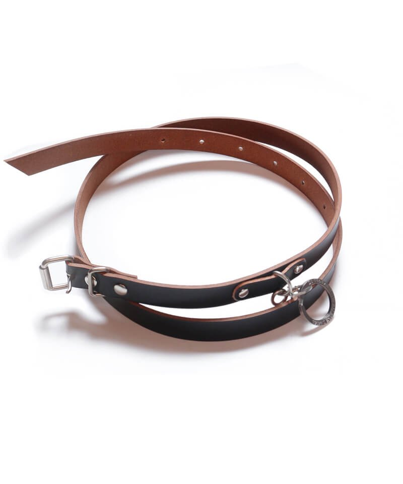 """RALEIGH / ラリー(RED MOTEL / レッドモーテル)   """"HANGING DOWN"""" LEATHER NARROW BELT (SPACE COWBOY MODEL / BLACK)商品画像"""