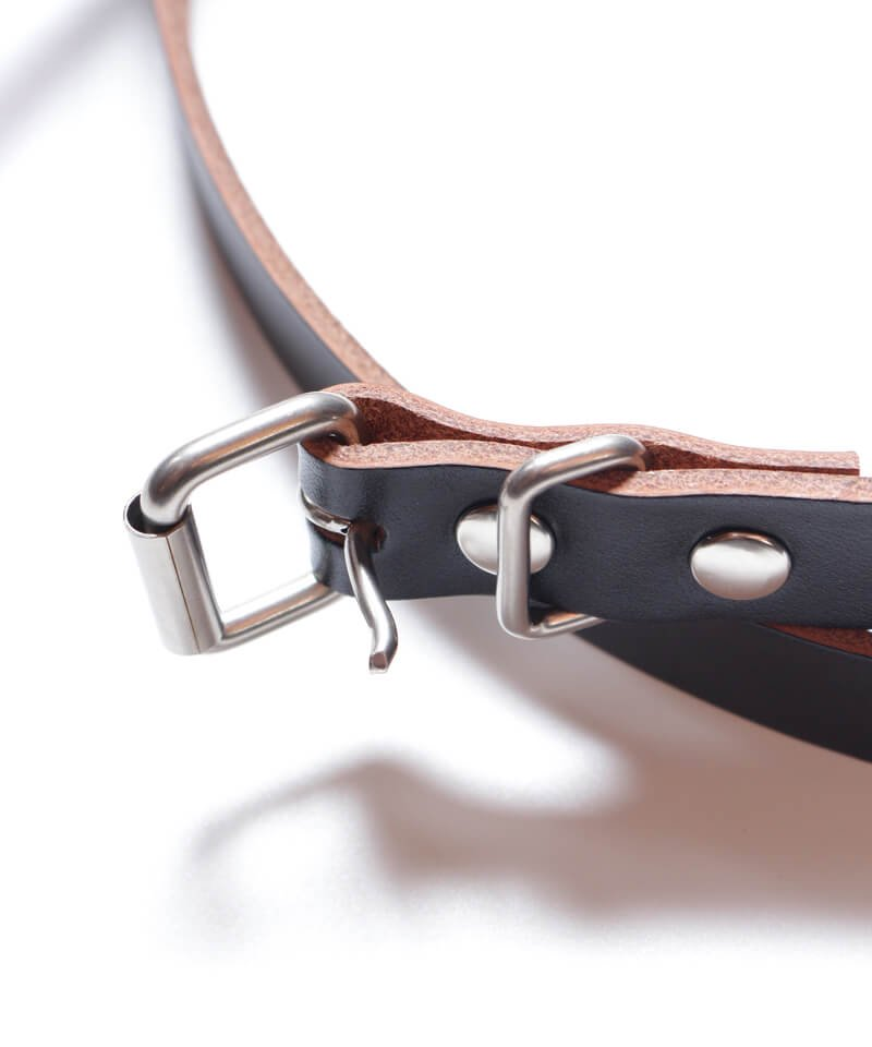 """RALEIGH / ラリー(RED MOTEL / レッドモーテル)  """"HANGING DOWN"""" LEATHER NARROW BELT (SPACE COWBOY MODEL / BLACK)商品画像1"""