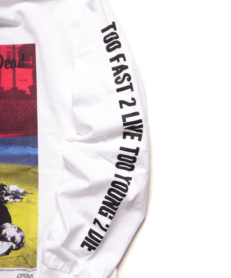 "RALEIGH / ラリー(RED MOTEL / レッドモーテル) |JAMES DEAN IS NOT DEAD ""永遠に生きるつもりで夢を抱き、今日死ぬつもりで今を駆け抜けろ"" L/S T-SHIRTS (LDN1991/WH)商品画像2"