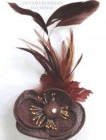 メッシュの花と羽の髪飾り ショコラ