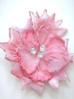 造花とクリスタルの髪飾り ピンクピーチ