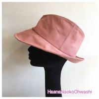 nakaore hat L 2017 サーモンピンク ブラウンステッチ