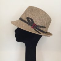 Hand painted hat  ブラックリボン